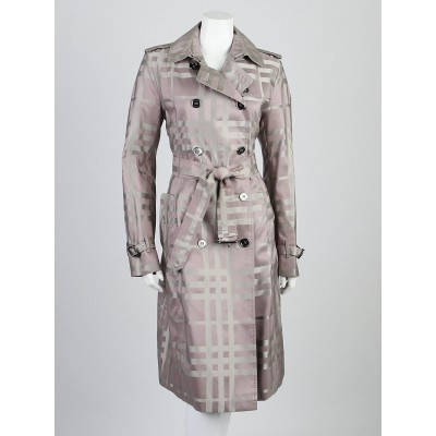 Burberry London Lavender Check Fabric Hawkesbury Trench Coat Size 10