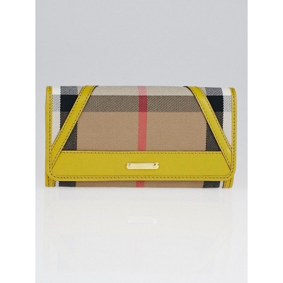 Burberry Yellow Bridle House Check Canvas Penrose Continental Wallet