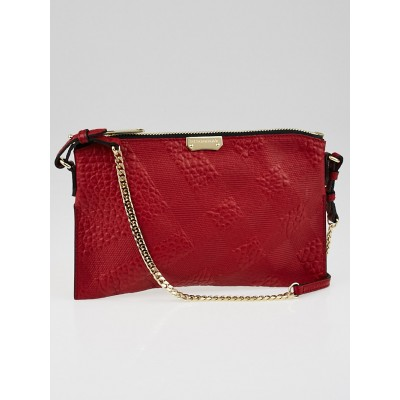 Burberry Military Red Grain Check Embossed Leather Peyton Crossbody Bag
