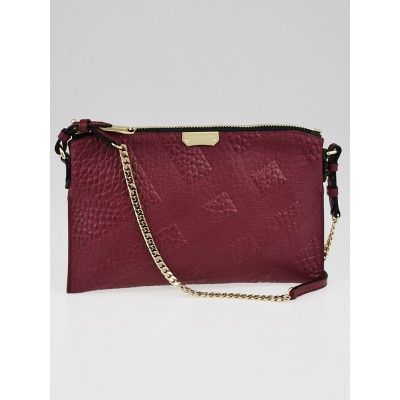 Burberry Berry Grain Check Embossed Leather Peyton Crossbody Bag