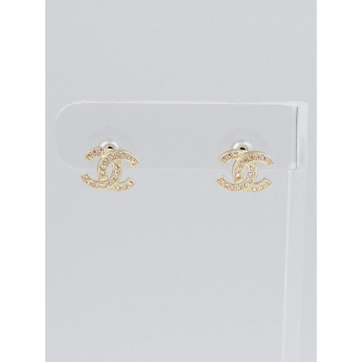 Chanel Goldtone Metal and Pink Crystal CC Earrings