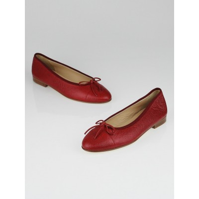 Chanel Red Caviar Leather CC Cap Toe Ballet Flats Size 8.5/39