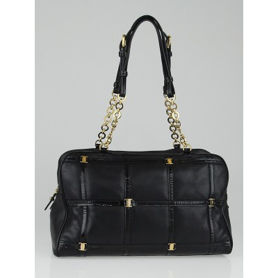 Salvatore Ferragamo Black Leather Square Quilt Satchel Bag