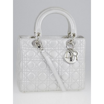 Christian Dior Silver Metallic Cannage Quilted Leather Medium Lady Dior Bag