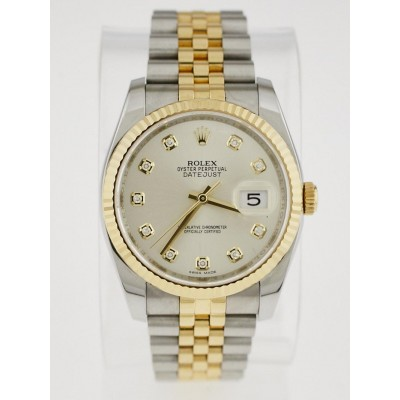 Rolex 18k Yellow Gold and Stainless Steel Diamond Jubilee Datejust 36mm Watch 116233