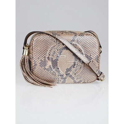 Gucci Metallic Pink Pearl Python Soho Disco Small Shoulder Bag