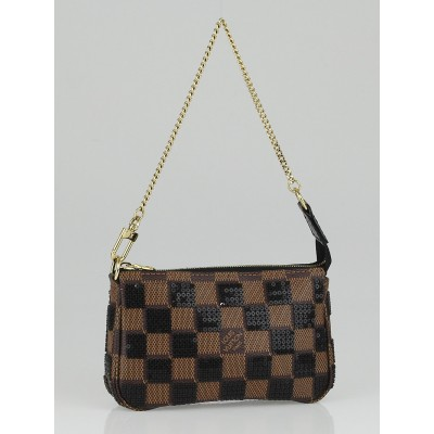 Louis Vuitton Limited Edition Black Damier Paillettes Mini Accessories Pochette Bag