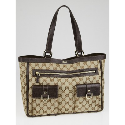 Gucci Beige/Ebony GG Canvas Abbey Pocket Tote Bag