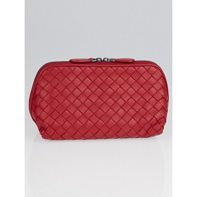 Bottega Veneta Fraise Intrecciato Woven Nappa Leather Medium Cosmetic Case