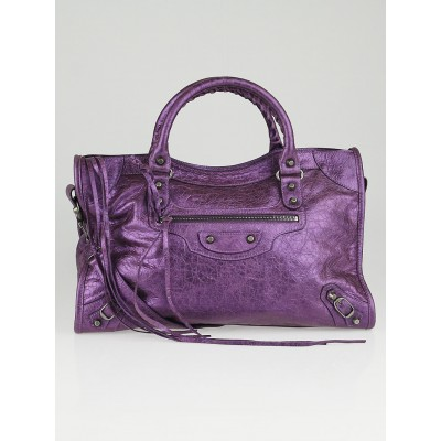 Balenciaga Metallic Purple Lambskin Leather Motorcycle City Bag