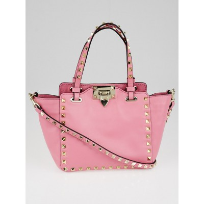 Valentino Pink Leather Rockstud Mini Trapeze Tote Bag