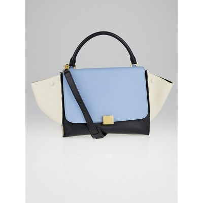 Celine Glacier Tricolor Leather Small Trapeze Bag