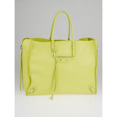 Balenciaga Chartreuse Calfskin Leather A4 Papier Side Zip Tote Bag