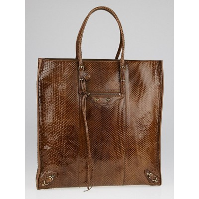 Balenciaga Brown Python Papier Ledger Tote Bag