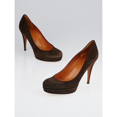 Gucci Brown Suede Betty Mid-Heel Platform Pumps Size 8/38.5