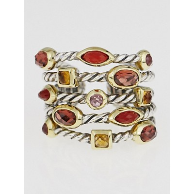 David Yurman Garnet and Carnelian 5 Row Confetti Ring Size 7