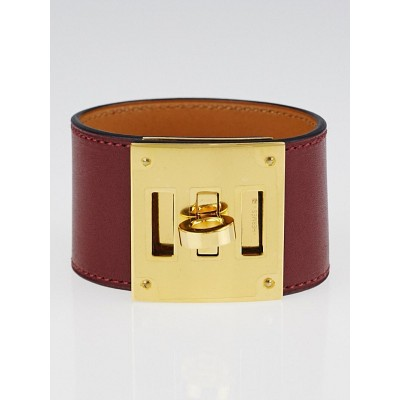 Hermes Bordeaux Swift Leather Gold Plated Kelly Dog Bracelet