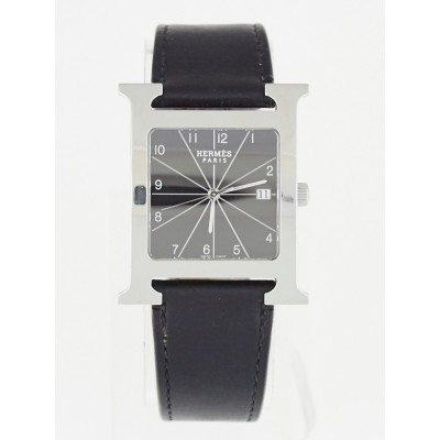 Hermes Black Barenia Leather and Stainless Steel Heure H TGM Quartz Watch