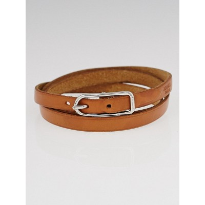Hermes  Natural Vache Calfskin Leather Palladium Plated Hapi 3 MM Bracelet Size GM