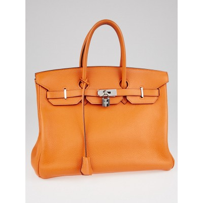 Hermes 35cm Orange Clemence Leather Palladium Plated Birkin Bag