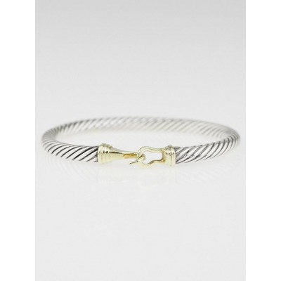 David Yurman 5mm Sterling Silver Cable and 14k Gold Buckle Bracelet