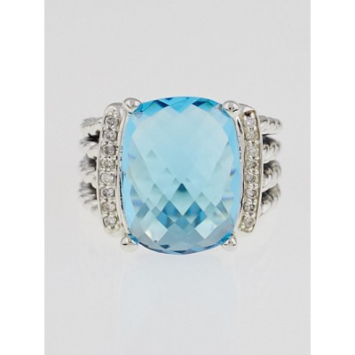 David Yurman 16x12mm Blue Topaz and Diamond Wheaton Ring Size 6.5