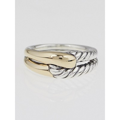 David Yurman Sterling Silver and 18k Gold Labyrinth Single-Loop Ring Size 7