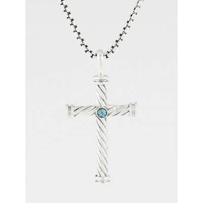 David Yurman Sterling Silver and Blue Topaz Cable Classics Cross Pendant Necklace