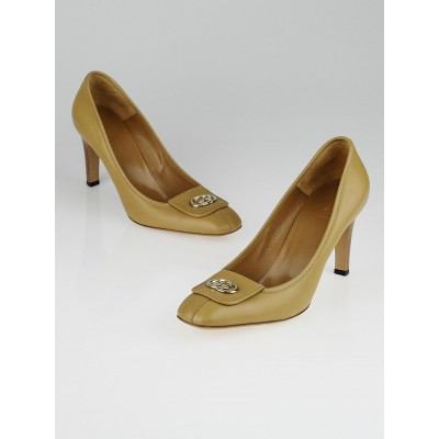 Gucci Beige Leather Interlocking GG Pumps Size 10
