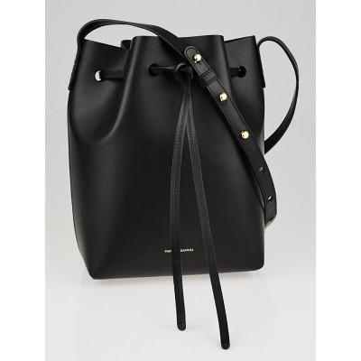 Mansur Gavriel Black/Blue Leather Mini Bucket Bag