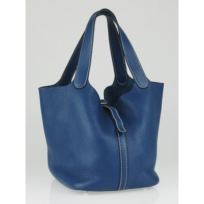 Hermes Blue Thalassa Clemence Leather Picotin MM Bag