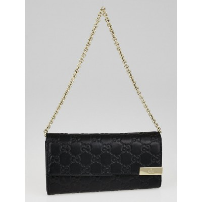 Gucci Black Guccissima Leather Wallet-Chain Clutch Bag