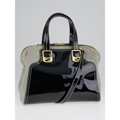 Fendi Black Patent Leather and Canvas Chameleon Small Tote Bag 8BL114