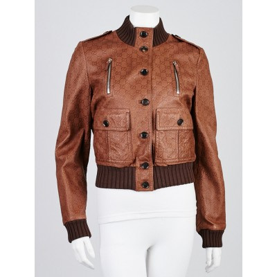 Gucci Brown Guccissima Embossed Leather Bomber Jacket Size 10/44