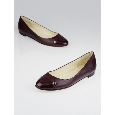Chanel Purple Leather Cap Toe Ballet Flats Size 8.5/39