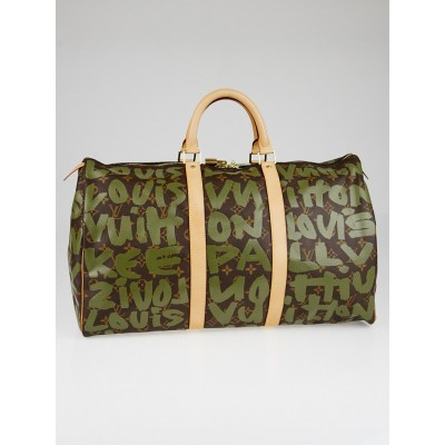 Louis Vuitton Limited Edition Khaki Graffiti Stephen Sprouse Keepall 50 Bag
