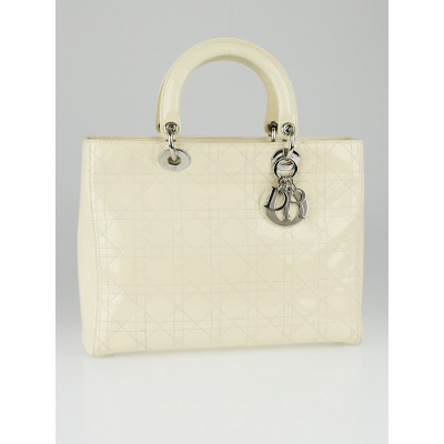 Christian Dior Ivory Cannage Quilted Patent Leather Large Lady Dior Tote Bag