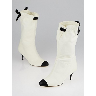 Chanel White Lambskin Leather Ruched Short Boots Size 6.5/37