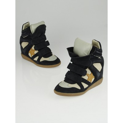 Isabel Marant Navy Blue Suede and Leather High-Top Bayley Sneaker Wedges Size 5.5/36