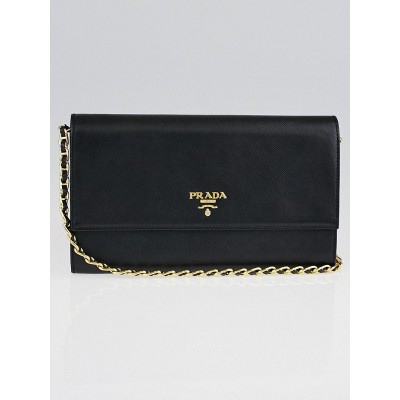 Prada Black Saffiano Metal Leather Wallet on Chain Clutch Bag