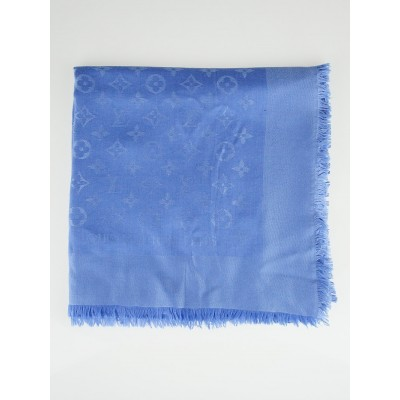 Louis Vuitton Blue Moyen Monogram Silk/Wool Shawl Scarf
