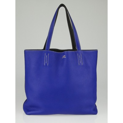 Hermes 45cm Electric Blue/Graphite Clemence Leather Large Double Sens Reversible Tote Bag