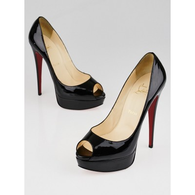 Christian Louboutin Black Patent Leather Banana 140 Peep Toe Pumps Size 9.5/40