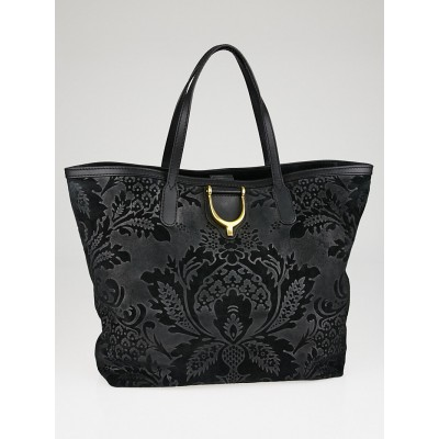 Gucci Black Brocade Leather Soft Stirrup Tote Bag