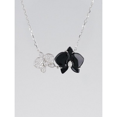 Cartier 18k White Gold Onyx and Diamonds Caresse d'Orchidees par Cartier Necklace