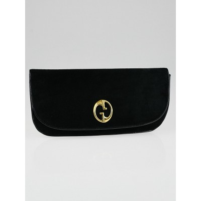 Gucci Black Suede 1973 Clutch Evening Bag