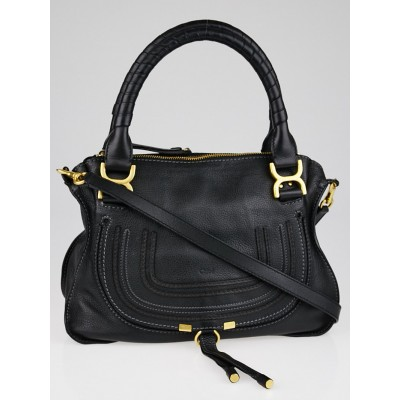Chloe Black Pebbled Calfskin Leather Medium Marcie Satchel Bag