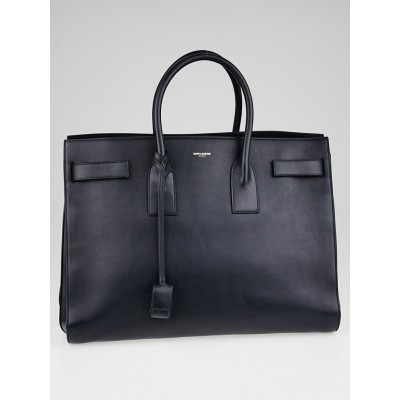 Yves Saint Laurent Navy Blue Calfskin Leather Classic Large Sac de Jour Bag