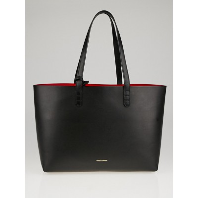 Mansur Gavriel Black/Flamma Vegetable Tanned Leather Small Tote Bag