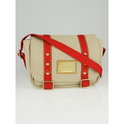 Louis Vuitton Tan and Red Canvas Antigua Besace PM Bag